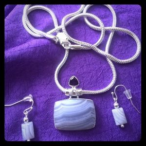 Blue lace agate necklace & earrings